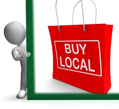 Buy Local Shopping Bag Showing Buy Nearby Trade